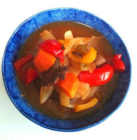丹参と青梗菜の入ったハツの炒め物酢豚風